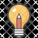 Creative Bulb Pencil Ideas Inspiration Icon