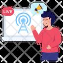 Live Transmission Broadcast Marketing Live Broadcast Icon