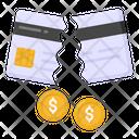 Damaged Card Broken Card Damaged Debit Icon