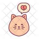 Cat Heart Broken Love Icon