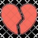 Broken Heart Crack In Relationship Divorce Symbol Icon