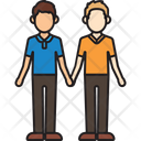 Mixed Men Couple Holding Hands Icon