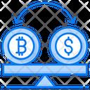 Btc To Usd Money Comparison Financial Balance Icon