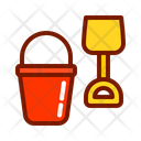 Bucket And Spade Beach Toy Gardening Toy Icon