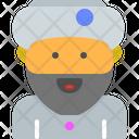 Buddhist Beard Man Character Icon
