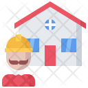 Builder Building House Icon