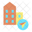 Mnavigation Arrow Buliding Building Location Office Location Icon