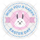 Bunny Badge Design Happy Easter Badge Easter Emblem Icon