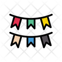 Buntings Decoration Party Icon