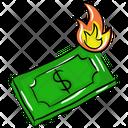 Burning Banknote Money Burning Bankruptcy Icon