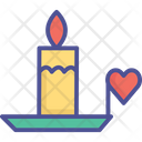 Burning Candle With Heart Burning Candle Candle Icon