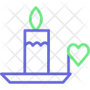 Burning Candle With Heart Icon