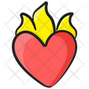 Burning Heart Hurt Heart Heart Fire Icon