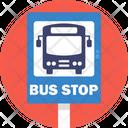 Public Transport Bus Stop Sign Icon