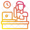 Man Laptop Clock Icon
