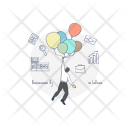 Business Fly on Balloon Icon