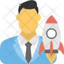 Business Startup Rocket Icon