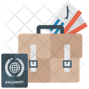 Business Travel Luggage Travelling Equipments Tickets Icon