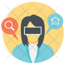 Business Woman Wearing Virtual Glasses Icon