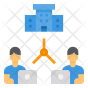Working Head Quarter Networking Icon