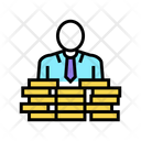 Businessman Coin Heap Icon