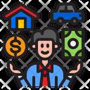 Businessman Money Home Icon
