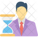 Businessman And Hourglass Icon