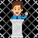 Businessman Giving Speech Icon