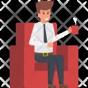 Businessman Having Coffee Icon