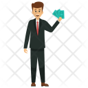 Businessman Holding Banknotes Icon