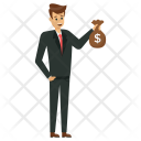 Businessman Holding Money Bag Icon