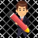 Businessman Holding Pencil Icon