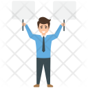 Businessman Holding Placard Icon