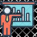 Businessman Presenting Businessman Presenting Bars Graphic Demonstration Icon