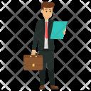 Businessman Reading File Icon