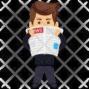Businessman Reading Newspaper Icon