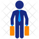 Business Man Suitcases Icon