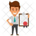 Businessman with Certificate Icon