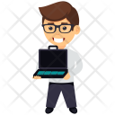 Businessman With Empty Briefcase Icon