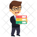 Businessman with Files Icon