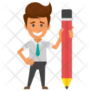 Businessman with Pencil Icon