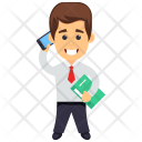 Businessman with Smartphone Icon