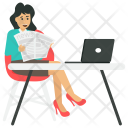 Businesswoman Reading Newspaper Icon