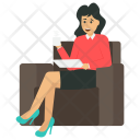 Stylish Woman Coffee Icon