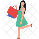 Shopping Girl Leisure Time Buying Time Icon