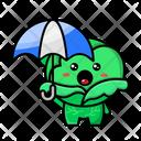 Cabbage Holding Umbrella Umbrella Cute Cabbage Icon