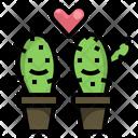Love Cactus Couple Icon