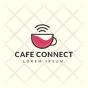 Cafe Connection Hot Coffee Cafe Logomark Icon