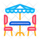 Caf Table Chairs Icon