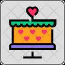 Valentine Day Heart Cake Icon